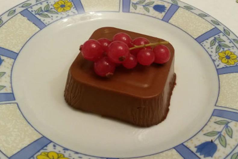 budino di avocado e cioccolato con ribes in decorazione