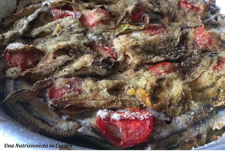 tortino di alici, zucchine e pomodorini